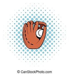 Baseball glove icon, comics style