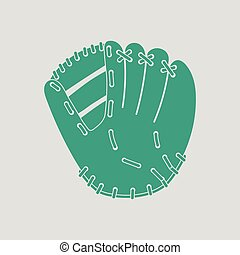 Baseball glove icon. Gray background with green. Vector...
