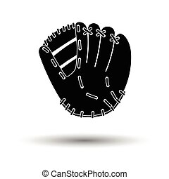 Baseball glove icon. White background with shadow design....
