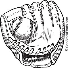 Baseball glove sketch - Doodle style baseball and glove in...