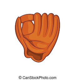 Baseball glove with ball icon, cartoon style