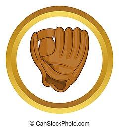 Baseball glove with ball icon