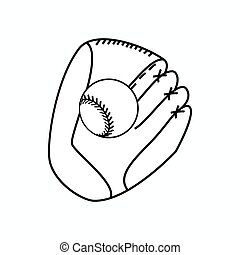 Baseball glove with ball icon, isometric 3d style