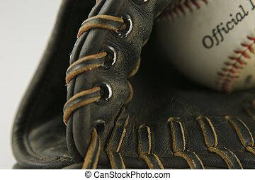 Baseball Glove with ball white isolation background