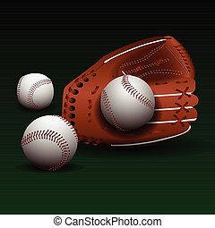 Baseball glove with balls