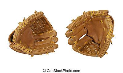 Baseball Gloves - Leather baseball gloves worn during...