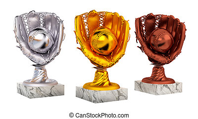 Baseball Gold Silver and Bronze Trophies with Glove and Ball