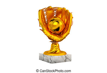 Baseball Gold Trophy with Glove and Ball
