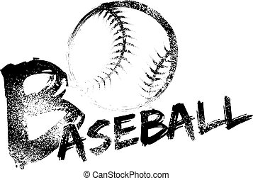Baseball made with a grungy brush swooping through the air over a grunge version of the word baseball.