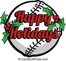 Baseball Happy Holidays Stacked