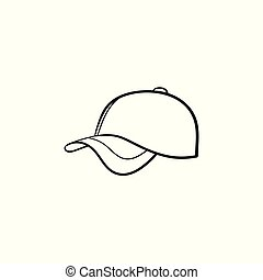Baseball hat hand drawn sketch icon.