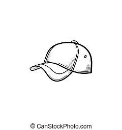 Baseball hat hand drawn sketch icon. - Vector hand drawn...