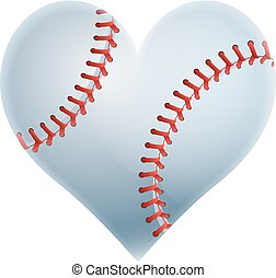A heart shaped baseball ball representing a love of the game of baseball