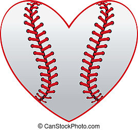 Baseball heart - Baseball leather ball as a heart for sport...