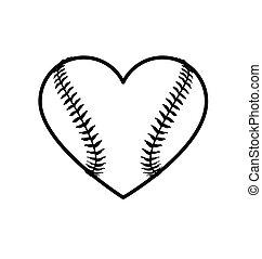 Baseball heart shape icon lineart