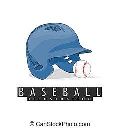 Baseball helmet and ball on white background