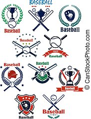 Baseball heraldic emblems or badges with equipments -...