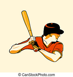 Baseball hero - Baseball batter in retro three color print ...