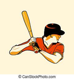 Baseball hero - Baseball batter in retro three color print...