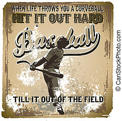 baseball hit it out - illustration for shirt printed and...