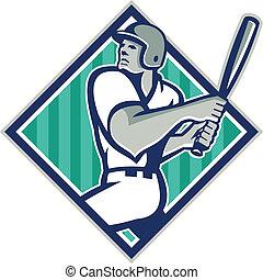 Baseball Hitter Batting Diamond Retro - Illustration of a...