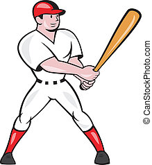 Baseball Hitter Batting Isolated Cartoon