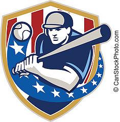 Baseball Hitter Batting Stars Stripes Retro - Illustration...