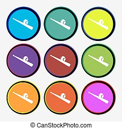 Baseball icon sign. Nine multi colored round buttons. Vector