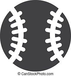baseball, icona, in, nero, su, uno, bianco, fondo., vettore, illustrazione