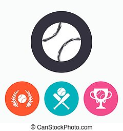 Baseball icons. Ball with glove and bat symbols.