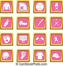 Baseball icons pink