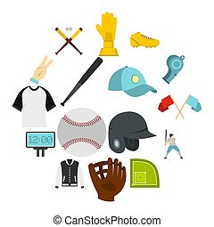 Baseball icons set in flat style