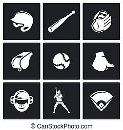 Baseball icons set. Vector Illustration.