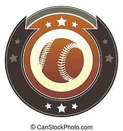 Baseball imperial crest - Baseball icon on round red and...