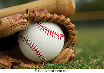 Baseball in a Glove on the Field