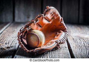 Baseball in a leather glove