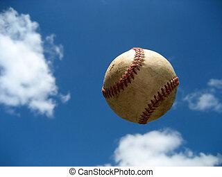 Baseball in Flight - A baseball is captured in flight.