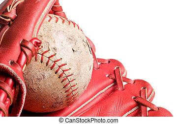 baseball in mitt isolated on white background
