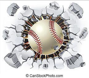 baseball, intonacare, vecchio, wall.