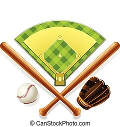 baseball inventory and playground vector illustration...