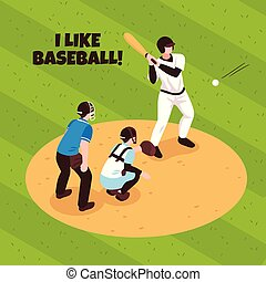 Baseball Isometric Illustration - Players and referee during...