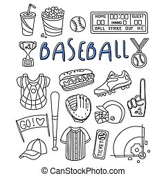 Baseball Items Hand Drawn Set