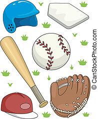 Baseball Items - Illustration Featuring Different Baseball...