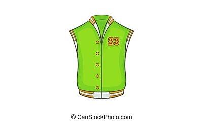 Baseball jacket icon animation cartoon best object isolated on white background