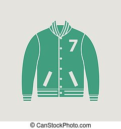 Baseball jacket icon. Gray background with green. Vector...