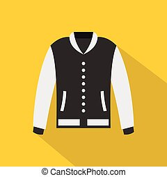 Baseball jacket icon, flat style