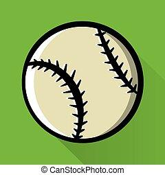 baseball, jednorazowy, ikona, ilustracja