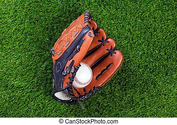 baseball kesztyű, és, labda, képben látható, fű