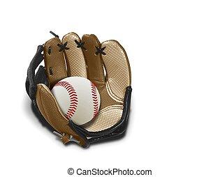 baseball kesztyű, és, labda