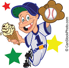 a small baseball kid catching a ball in a baseball uniform holding an ice cream cone with stars in the background